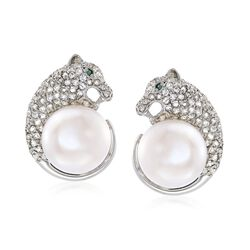 9-10mm Cultured Pearl and 1.30 ct. t.w. White Topaz Panther Earrings in Sterling, , default