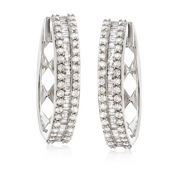 "3.00 ct. t.w. Baguette and Round Diamond Hoop Earrings in Sterling Silver. 1 1/8"""