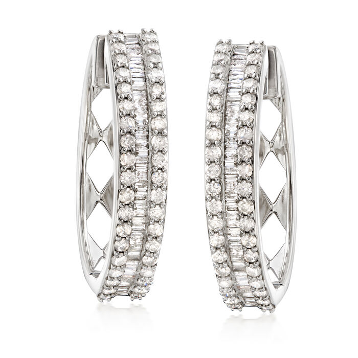 3.00 ct. t.w. Baguette and Round Diamond Hoop Earrings in Sterling Silver