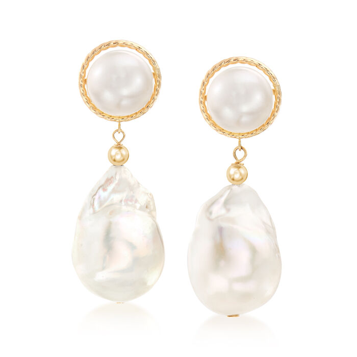 8.5-13mm Cultured Button and Baroque Pearl Drop Earrings in 14kt Yellow Gold