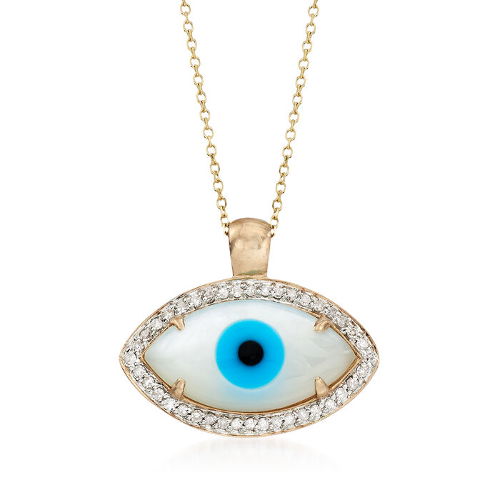 Multi-Stone and .21 ct. t.w. Diamond Evil Eye Pendant Necklace in 14kt Yellow Gold, , default