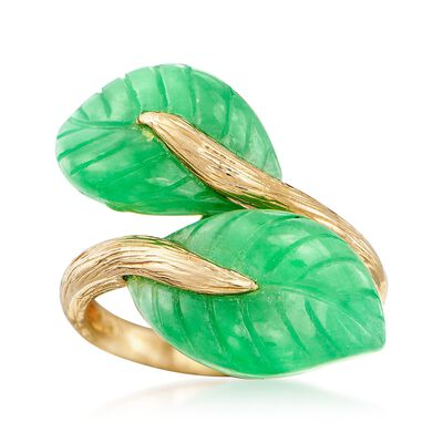 Jade Leaf Bypass Ring in 14kt Yellow Gold, , default