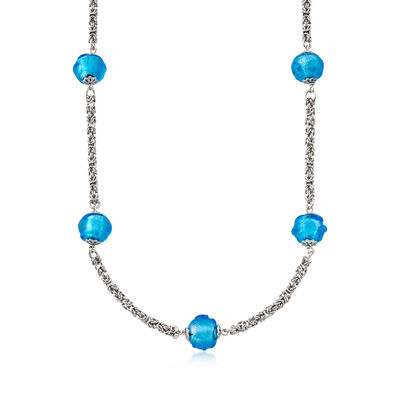 Italian Aqua Murano Glass Byzantine Station Necklace in Sterling Silver, , default