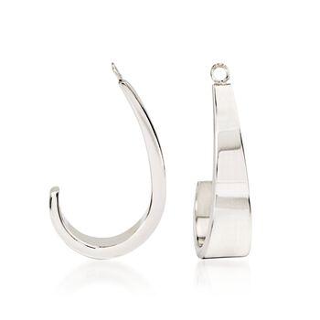 14kt White Gold J-Hoop Earring Jackets, , default