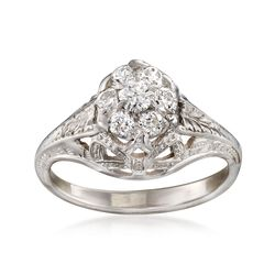 C. 1990 Vintage .40 ct. t.w. Diamond Floral Cluster Ring in 14kt White Gold. Size 4.75, , default