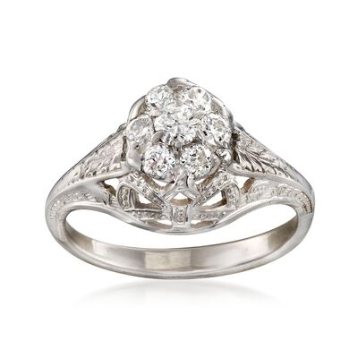 C. 1990 Vintage .40 ct. t.w. Diamond Floral Cluster Ring in 14kt White Gold, , default