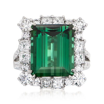 13.00 Carat Green Tourmaline and 2.79 ct. t.w. Diamond Ring in 18kt White Gold