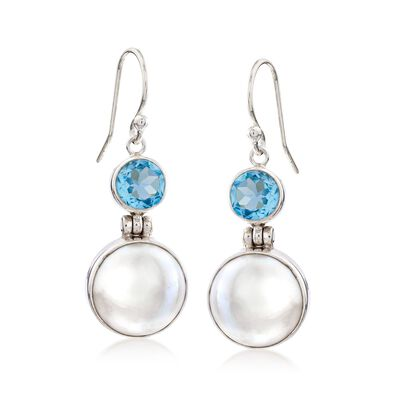 2.90 ct. t.w. Blue Topaz and 13mm Cultured Mabe Pearl Drop Earrings in Sterling Silver, , default