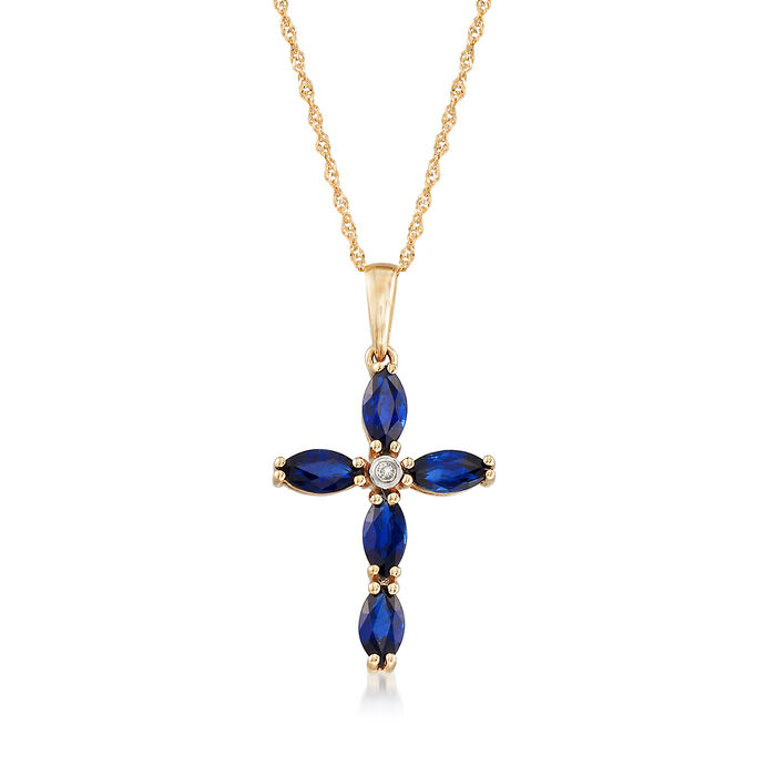 1.90 ct. t.w. Sapphire Cross Pendent Necklace in 14kt Yellow Gold, , default