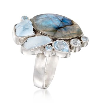 Labradorite and 2.39 ct. t.w. Blue Topaz Free-Form Ring in Sterling Silver. Size 5, , default