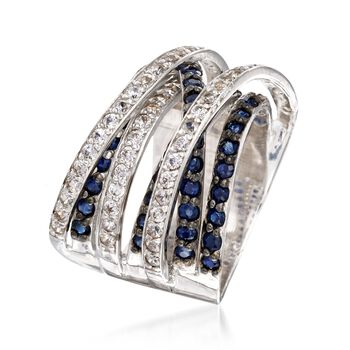 2.70 ct. t.w. Sapphire and .72 ct. t.w. White Topaz Highway Ring in Sterling Silver. Size 5, , default