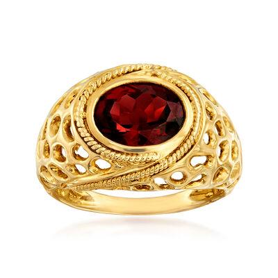2.65 Carat Garnet Cut-Out Ring in 14kt Yellow Gold, , default