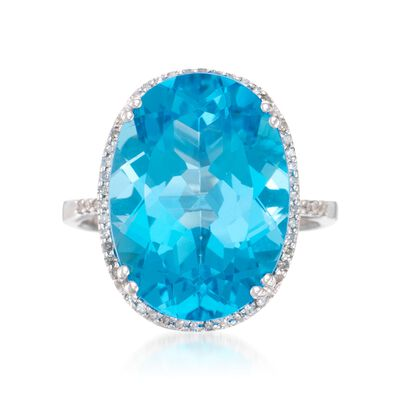14.50 Carat Blue Topaz Ring with .20 ct. t.w. Diamonds in 14kt White Gold, , default