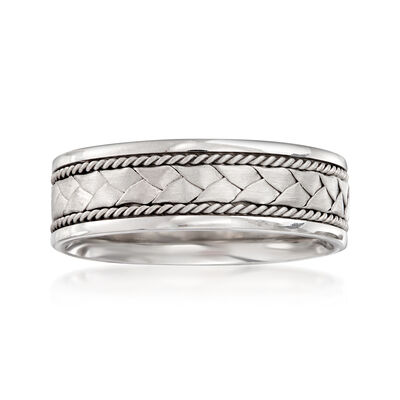 Men's 7mm 14kt White Gold Braid and Twist Wedding Band