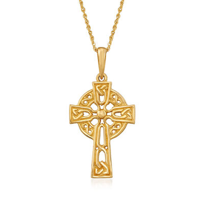 14kt Yellow Gold Celtic Cross Pendant Necklace