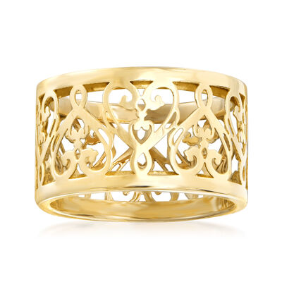 Italian 14kt Yellow Gold Filigree Heart Ring