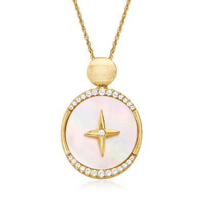Mother-Of-Pearl and .34 ct. t.w. Simulated White Sapphire Ross-Simons Signature Pendant Necklace in 18kt Gold Over Sterling