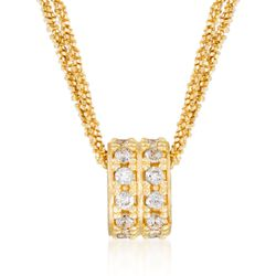 "Italian .70 ct. t.w. CZ Barrel Bead Necklace in 24kt Yellow Gold Over Sterling Silver. 16"", , default"