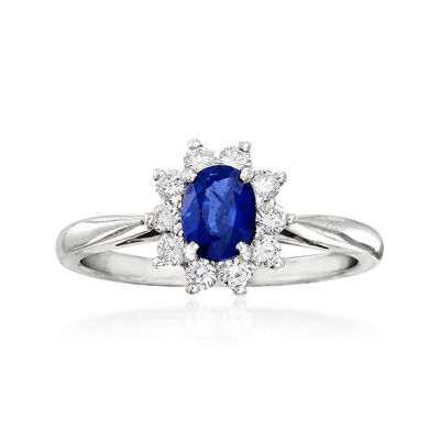 C. 1990 Vintage Tiffany Jewelry .65 Carat Sapphire and .30 ct. t.w. Diamond Ring in Platinum, , default