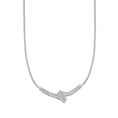 C. 1980 Vintage 3.60 ct. t.w. Diamond Wheat Chain Necklace in 14kt White Gold, , default