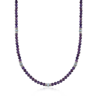 100.00 ct. t.w. Amethyst and 2.00 ct. t.w. Swiss Blue Topaz Bead Necklace in Sterling Silver, , default