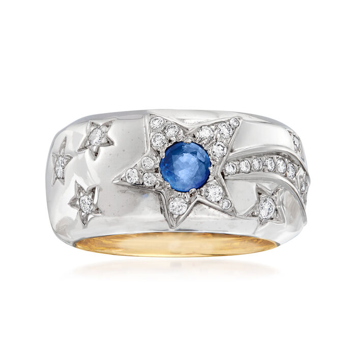 C. 1980 Vintage Chanel 1.05 ct. t.w. Blue and Yellow Sapphire and .25 ct. t.w. Diamond Star Ring in 18kt Two-Tone Gold