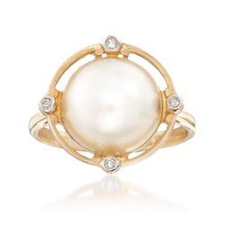11.5-12mm Cultured Mabe Pearl Ring With Diamond Accents in 14kt Yellow Gold. Size 6, , default