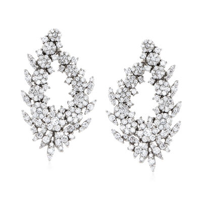 5.00 ct. t.w. Diamond Floral Drop Earrings in 14kt White Gold