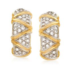 C. 1980 Vintage 1.30 ct. t.w. Pave Diamond Zigzag Clip-On Earrings in 18kt Yellow Gold, , default
