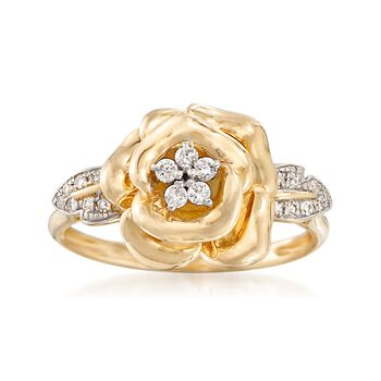 .13 ct. t.w. Diamond Flower Ring in 14kt Yellow Gold, , default