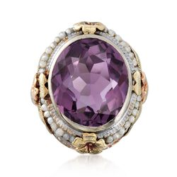C. 1950 Vintage 7.00 Carat Amethyst and Cultured Seed Pearl Floral Ring in 14kt Tri-Colored Gold, , default