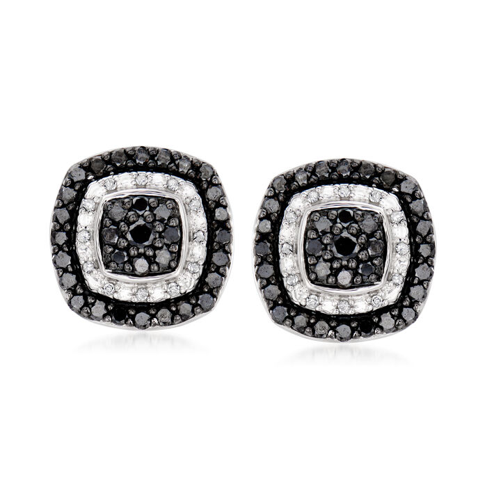 1.00 ct. t.w. Black and White Diamond Earrings in Sterling Silver