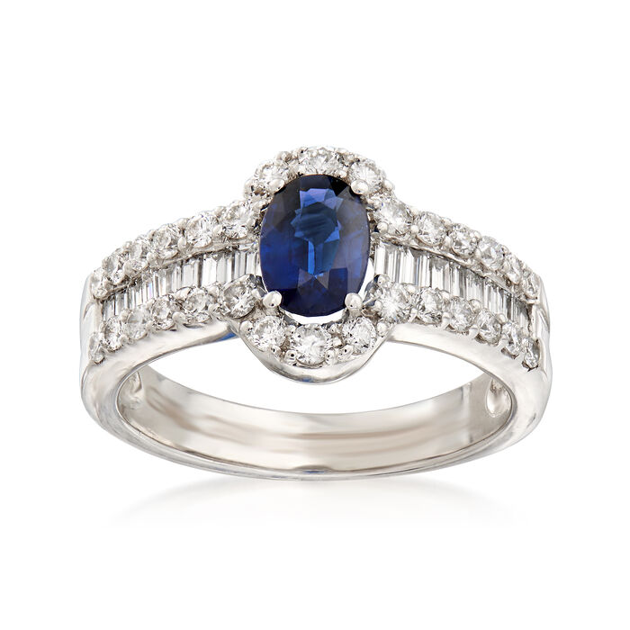 1.00 ct. t.w. Diamond and .80 Carat Sapphire Ring in 18kt White Gold