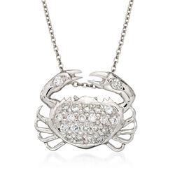 "Roberto Coin ""Tiny Treasures"" .19 ct. t.w. Crab Diamond Necklace in 18kt White Gold. 16"", , default"
