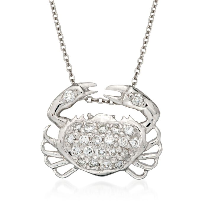 """Roberto Coin """"Tiny Treasures"""" .19 ct. t.w. Crab Diamond Necklace in 18kt White Gold. 16"""", , default"""