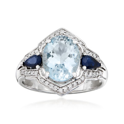 2.20 Carat Aquamarine, .40 ct. t.w. Sapphire and .17 ct. t.w. Diamond Ring in 14kt White Gold, , default