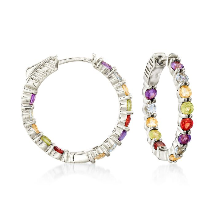 "2.80 ct. t.w. Multi-Stone Inside-Outside Hoop Earrings in Sterling Silver. 7/8"", , default"