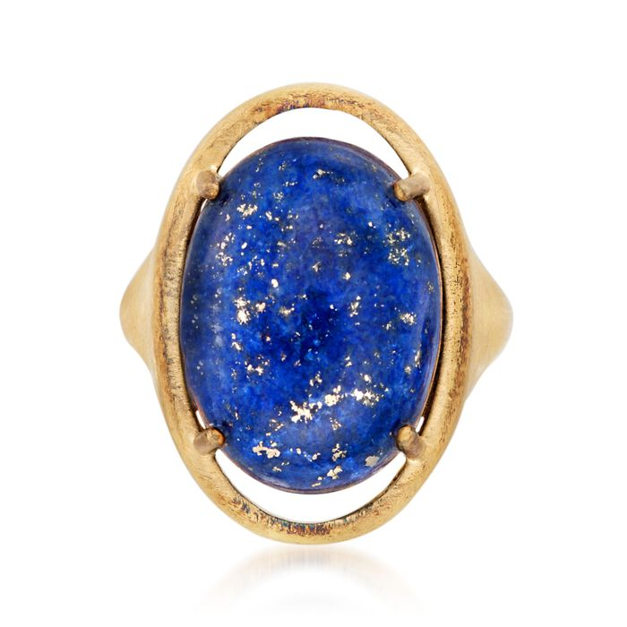 Lapis Ring in 14kt Gold Over Sterling. Size 7, , default