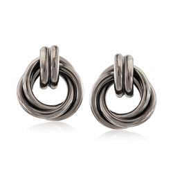 Sterling Silver Love Knot Earrings in Black, , default