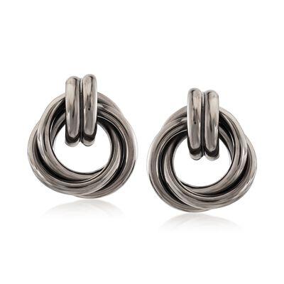 Sterling Silver Love Knot Earrings in Black, , default