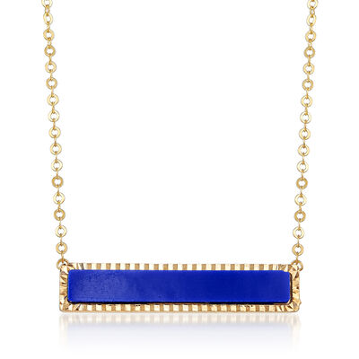 Italian Simulated Blue Lapis Bar Necklace in 14kt Yellow Gold, , default