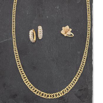 """1.00 ct. t.w. Diamond Hoop Earrings in 14kt Yellow Gold. 5/8"""", , default"""