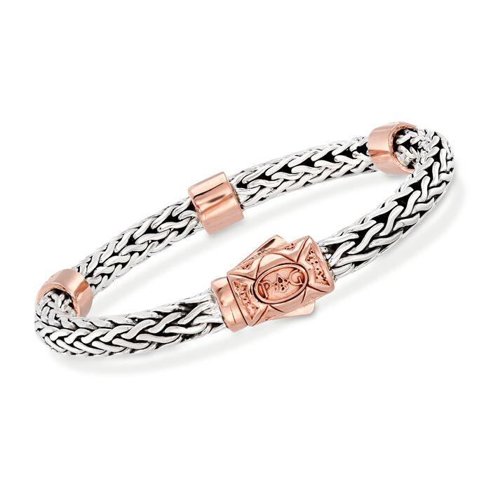 "Phillip Gavriel ""La Vie En Rose"" .72 ct. t.w. White Sapphire Station Bracelet in Sterling Silver and 18kt Rose Gold"