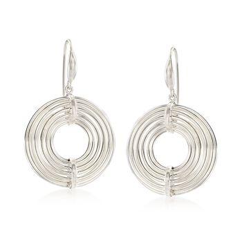 Sterling Silver Open-Space Circle Drop Earrings, , default