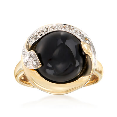 12mm Black Onyx Ring in 14kt Yellow Gold with Diamond Accents, , default
