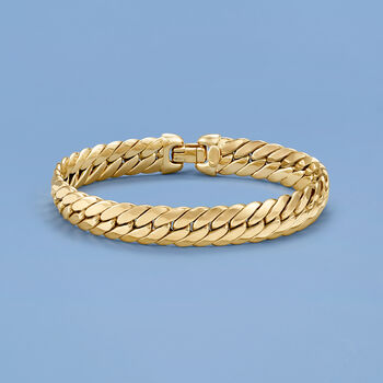 "Italian 14kt Yellow Gold Cuban-Link Bracelet. 7"", , default"