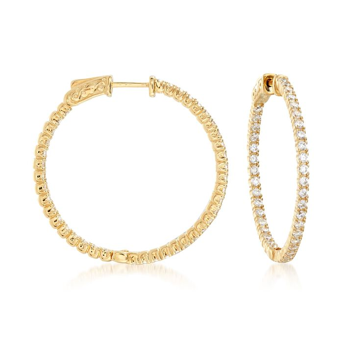 "2.00 ct. t.w. CZ Inside-Outside Hoop Earrings in 18kt Gold Over Sterling. 1 1/4"", , default"