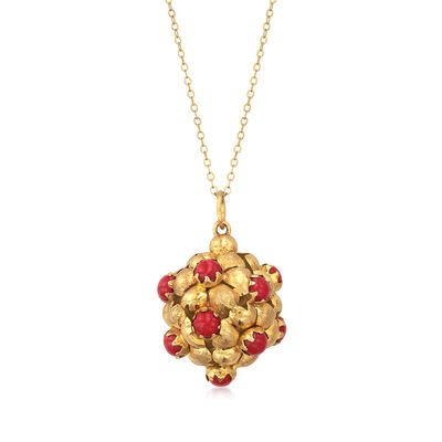 C. 1980 Vintage Red Coral Cluster Necklace in 18kt Yellow Gold, , default