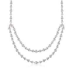 "C. 2000 Vintage .80 ct. t.w. Diamond Layered Bead Necklace in 14kt White Gold. 17"", , default"