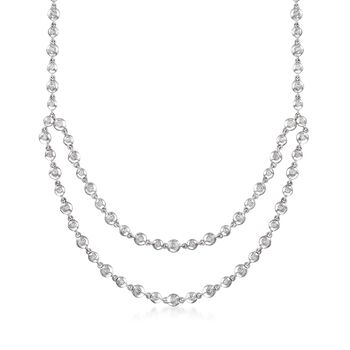"""C. 2000 Vintage .80 ct. t.w. Diamond Layered Bead Necklace in 14kt White Gold. 17"""", , default"""